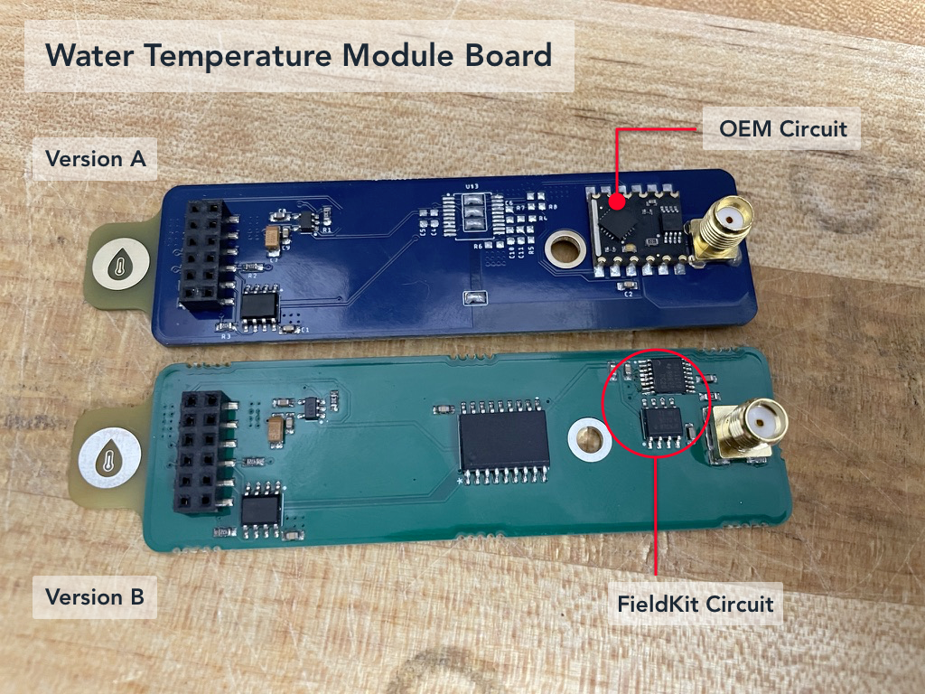 Water Temperature Module Boards Versions A and B, with circuits labeled